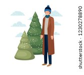 young man with winter clothes... | Shutterstock .eps vector #1230278890