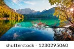 colorful summer view of fusine... | Shutterstock . vector #1230295060