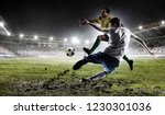 soccer players at stadium.... | Shutterstock . vector #1230301036
