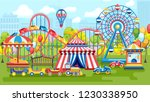 amusement park with ferris... | Shutterstock .eps vector #1230338950
