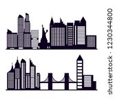 set of cityscape with buildings | Shutterstock .eps vector #1230344800
