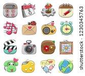 cute cartoon icon set for web... | Shutterstock .eps vector #1230345763