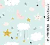 cute seamless clouds and stars... | Shutterstock . vector #1230351139