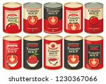 vector set of tin cans with... | Shutterstock .eps vector #1230367066