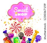 candy sweet shop background set ... | Shutterstock .eps vector #1230367159