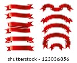 red ribbon set | Shutterstock .eps vector #123036856