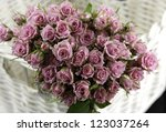 pink bouquet roses flowers and... | Shutterstock . vector #123037264