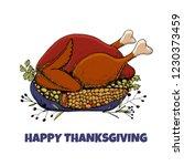 happy thanksgiving card. hand...   Shutterstock .eps vector #1230373459