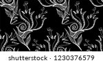 flower doodles seamless pattern.... | Shutterstock .eps vector #1230376579
