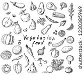 hand drawn set of fruits and... | Shutterstock .eps vector #1230385969