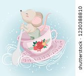 little mouse bowing on a tea cup | Shutterstock .eps vector #1230388810