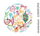 new year 2019. new year's set... | Shutterstock .eps vector #1230391993