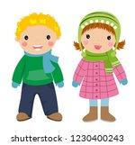 children  winter clothes | Shutterstock .eps vector #1230400243