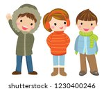 children  winter clothes | Shutterstock .eps vector #1230400246