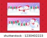 merry christmas polar bears... | Shutterstock .eps vector #1230402223