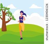 fitness girl running design   Shutterstock .eps vector #1230406126