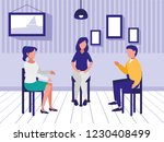 women and man sitting on chair | Shutterstock .eps vector #1230408499