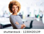 a laughing young sales... | Shutterstock . vector #1230420139