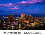 fukuoka  japan. a sunset with a ... | Shutterstock . vector #1230421090