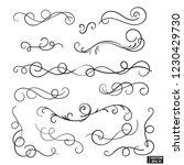 vector elements. a set of curls ... | Shutterstock .eps vector #1230429730