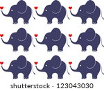 Stock vector elephants with love seamless pattern 123043030