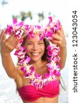 Hawaii Woman Showing Flower Le...