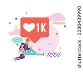 social media bubble with heart... | Shutterstock .eps vector #1230439990