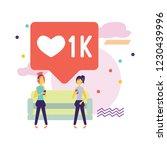 social media bubble with heart... | Shutterstock .eps vector #1230439996