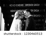 bride and groom are standing by ...   Shutterstock . vector #1230460513