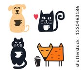 set of funny cat  dog  fox with ...   Shutterstock .eps vector #1230463186