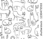 seamless monochrome pattern.... | Shutterstock . vector #1230473533