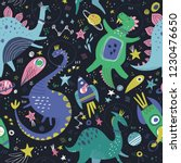 dinosaurs in space hand drawn... | Shutterstock .eps vector #1230476650