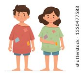 two poor kids  poor boy and... | Shutterstock .eps vector #1230477583