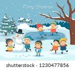 winter children scene   kids... | Shutterstock .eps vector #1230477856