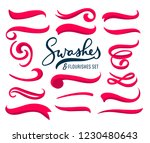 set of hand drawn red swashes... | Shutterstock .eps vector #1230480643