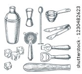 cocktail bar tools and... | Shutterstock .eps vector #1230482623