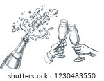 explosion champagne bottle and... | Shutterstock .eps vector #1230483550