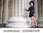 beautiful long legged blonde in ...   Shutterstock . vector #1230487390