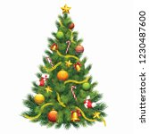 christmas tree with white... | Shutterstock . vector #1230487600