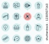 traveling icons set with globe  ... | Shutterstock . vector #1230507163