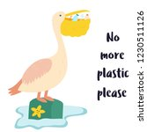eco poster. pelican and waste... | Shutterstock .eps vector #1230511126