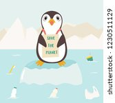 eco concept poster with cute... | Shutterstock .eps vector #1230511129