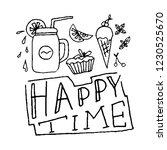 happy time hand lettering.... | Shutterstock .eps vector #1230525670