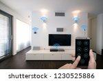 smart home living room... | Shutterstock . vector #1230525886