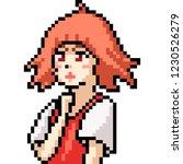 Stock vector vector pixel art anime girl isolated cartoon 1230526279