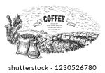 coffee plantation landscape bag ... | Shutterstock .eps vector #1230526780