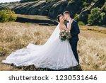 stylish groom hugs a beautiful...   Shutterstock . vector #1230531646