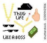 thug life style pixel set with...