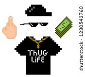 thug life style pixel set with... | Shutterstock .eps vector #1230543760