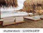 umbrellas and sunbeds on a...   Shutterstock . vector #1230561859